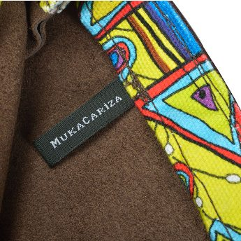 Detail binnenvoering bruine tas MukaCariza van Muka van Eyken